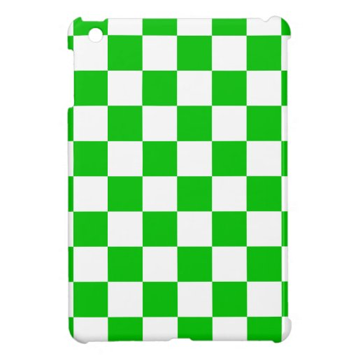 Green and White Chequered Pattern iPad Mini Cover