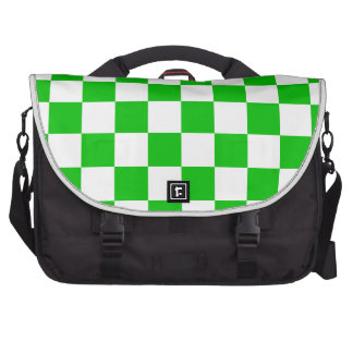Green and White Chequered Pattern Laptop Computer Bag