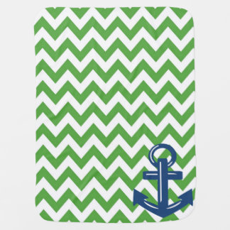 Green and White Chevron Anchor Throw Blanket
