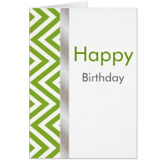 Green and White Chevron Birthday Card