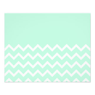 Green and White Chevron Pattern with Plain Green. 11.5 Cm X 14 Cm Flyer
