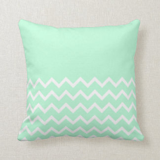 Green and White Chevron Pattern with Plain Green. Cushion
