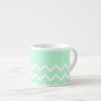 Green and White Chevron Pattern with Plain Green. Espresso Mug