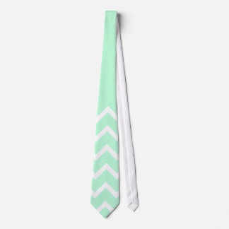 Green and White Chevron Pattern with Plain Green. Tie