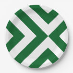 Green and White Chevrons 9 Inch Paper Plate