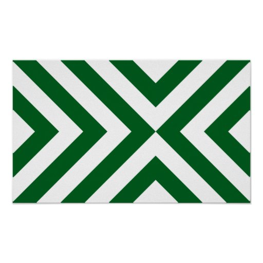 Green and White Chevrons Poster