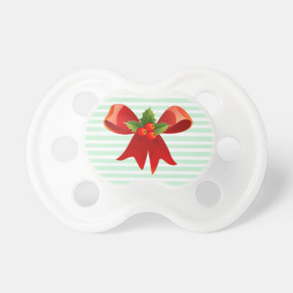Green and White Christmas Bow Baby Pacifier