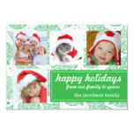 Green and White Christmas Holiday Photo Cards Personalized Invitation