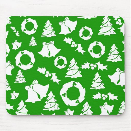 Green and White Christmas Winter Holiday Gifts Mouse Pads