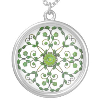 Green and White Circular Necklace