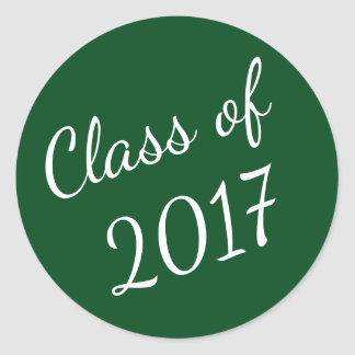 Green and White Class of 2017 Graduation Stickers
