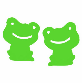 Green And White Cute Cartoon Frogs Sculpture Standing Photo Sculpture
