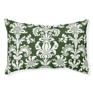 GREEN AND WHITE DAMASK Pattern Dog Pillow BED