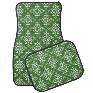 Green and White Damask Pattern Set of 4 Car Mats Car Mat