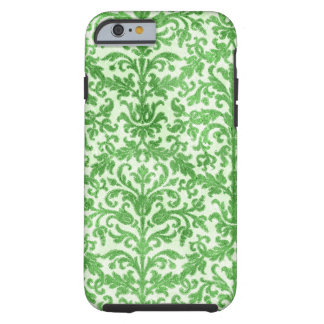 Green and White Damask Wallpaper Pattern Tough iPhone 6 Case
