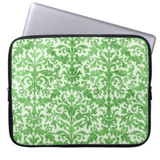 Green and White Damask Wallpaper Pattern Laptop Sleeve