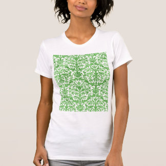 Green and White Damask Wallpaper Pattern T-Shirt