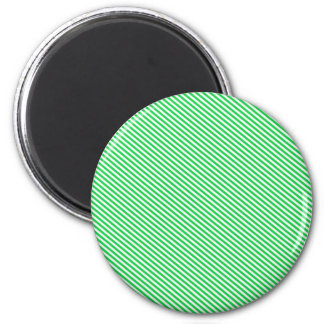 Green and White Diagonal Stripes 6 Cm Round Magnet