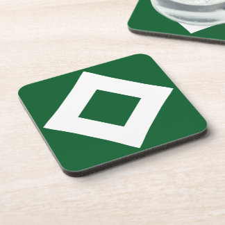 Green and White Diamond Pattern Beverage Coasters