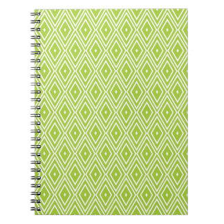 Green and White Diamonds Spiral Notebooks