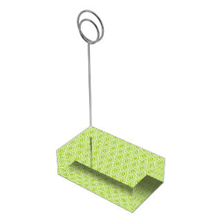 Green and White Diamonds Table Card Holder