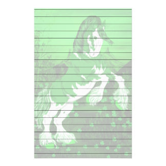 Green and White Fantasy Clydesdale Horse Print Stationery
