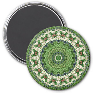 Green and White Farmers Market Mandala 7.5 Cm Round Magnet