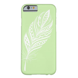 Green and White Feather Cell Phone Case