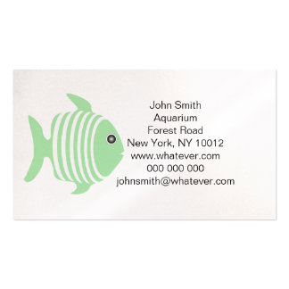 Green And White Fish Aquarium Pack Of Standard Business Cards