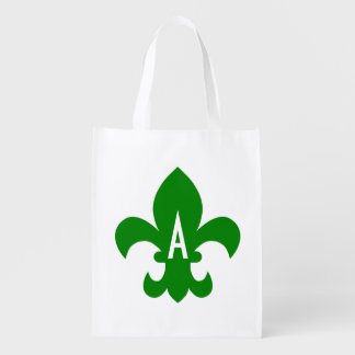 Green and White Fleur de Lis Monogram Reusable Grocery Bag