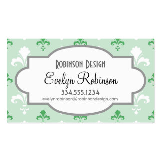 Green and White Fleur-de-lis Pattern Pack Of Standard Business Cards