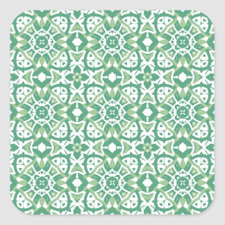 Green and white Floral Pattern Square Sticker