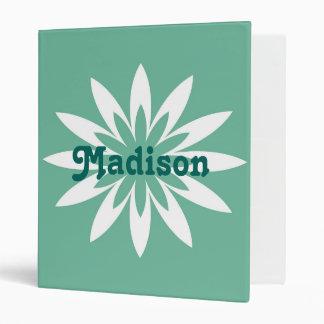 Green and white flower monogram binder