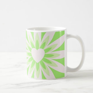 Green and white flower with heart pattern design coffee mug