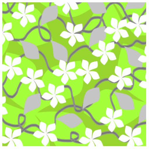 Green and White Flowers. Floral Pattern. Cut Outs