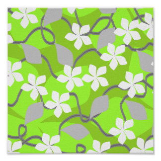 Green and White Flowers. Floral Pattern. Poster