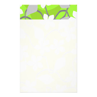 Green and White Flowers. Floral Pattern. Stationery