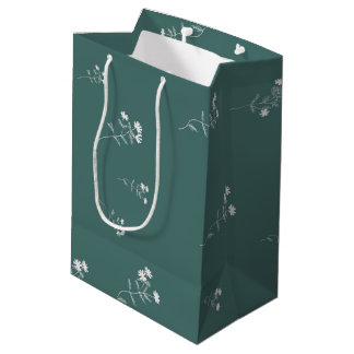 Green and White Flowers Medium Gift Bag
