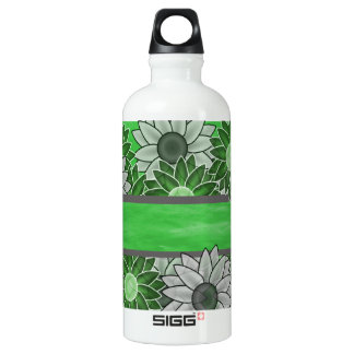 Green and White Flowers Water Bottle