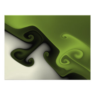 Green and White Fractal Gnarl Poster