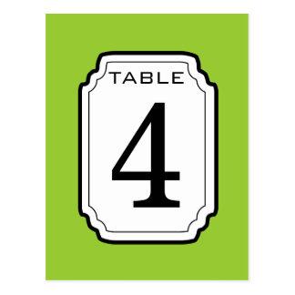 Green and White Frame Table Number 4 V04 Postcard