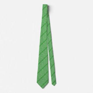 Green and White Geared Bricks Tie