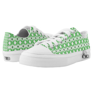 Green And White Geometric Printed Shoes