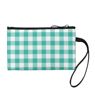 Green  And White Gingham Check Pattern Coin Wallet
