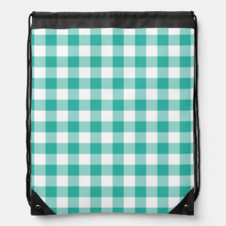 Green  And White Gingham Check Pattern Drawstring Bag
