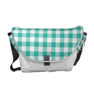 Green  And White Gingham Check Pattern Courier Bag