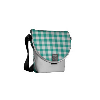 Green  And White Gingham Check Pattern Commuter Bag