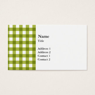 Green and White Gingham Pattern Business Card