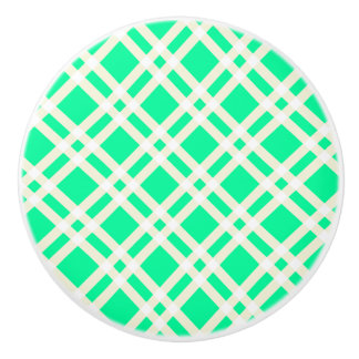 Green and White Gingham Pattern Knobs
