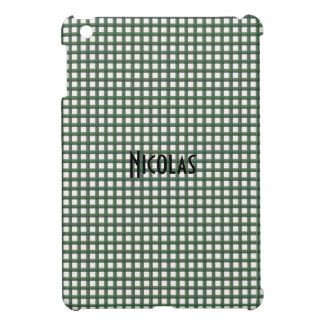 Green and White Gingham Pattern Personalized Name Case For The iPad Mini